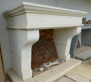 BIG WHITE STONE POVENCAL FIREPLACE.