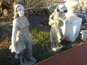 PRETTY CARVED RESTAURED STONE ANTIQUE STATUE.