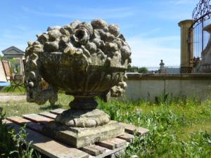 STATUE OF FRENCH STONE FLOWER JAR.