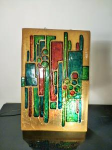 COLORED VINTAGE RESIN WALL LAMP SIGNED MATIUS. 1970.