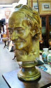 BIG BUST OF VOLTAIRE. SIGNED HOUDON