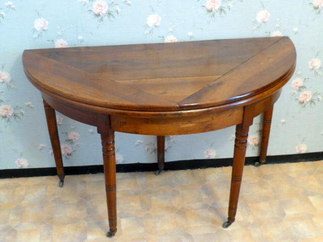 WALNUT LOUIS PHIIPPE STYLE HALFMOON TABLE