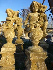 FOUR STATUE « PUTTI » FOUR SEASONS IN CARVED STONE
