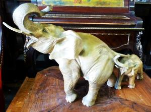 GILDED IRON ELEPHANT STATUE. EARLY 20TH CENT