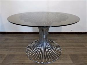 CHROME AND GLASS GASTONE RINALDI DINING TABLE. 1970.