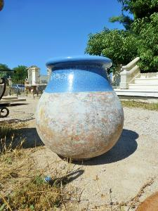 BIG TERRACOTA JAR WITH BLUE ENAMEL.